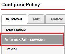 Antivirüs / Casus Yazılıma Karşı Koruma'yı seçin