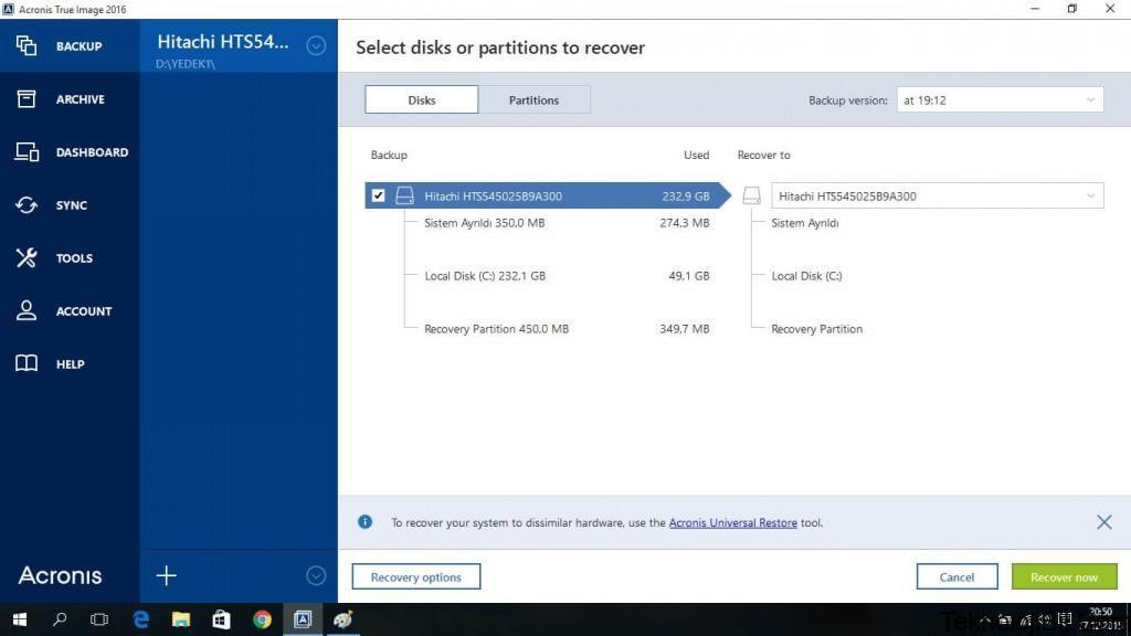acronis recovery